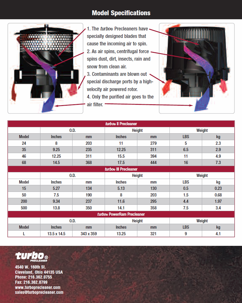 Turbo Precleaner Sizing Datasheet